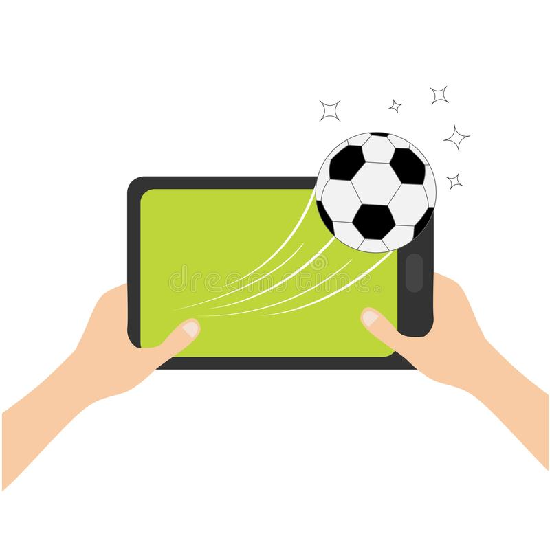 Two hands holding genering tablet PC gadget. Male female teen hand and Tab with blank screen. Soccer ball flying from touch screen vector illustration
