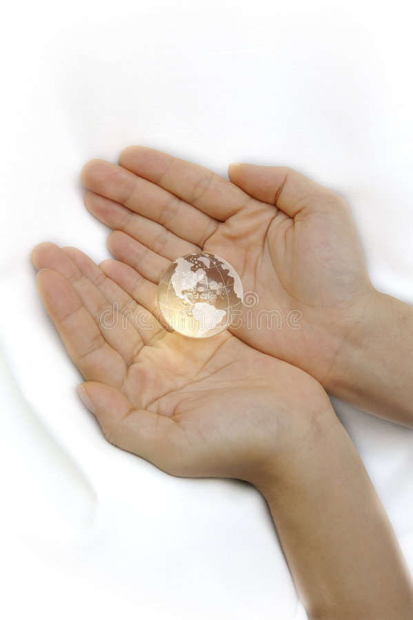 Two Hands Holding Globe royalty free stock photography