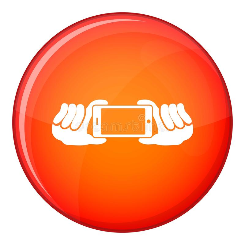 Two hands holding mobile phone icon, flat style. Two hands holding mobile phone icon in red circle isolated on white background vector illustration stock illustration
