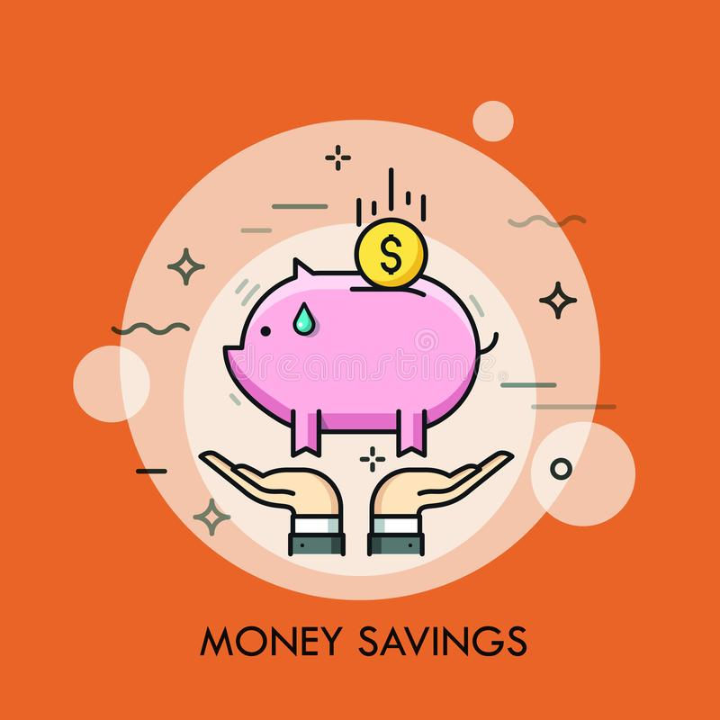 Two hands holding piggy bank and dollar coin. Money saving, personal finance depositing, investment and capital royalty free illustration