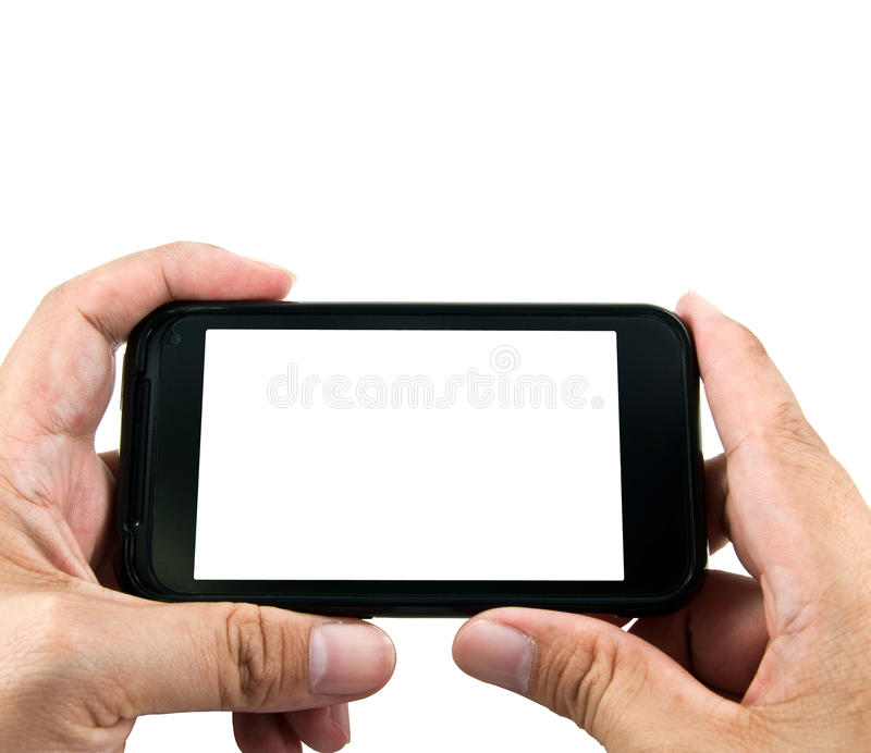 Two hands holding smart phone. With white screen royalty free stock photography