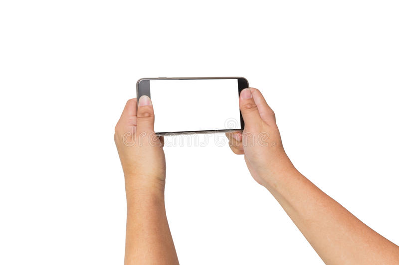 Two hands holding smart phone, clipping path. Two hands holding big screen smart phone, clipping path stock photos