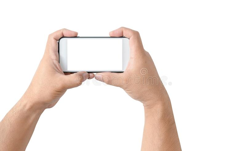 Two hands holding smart phone. With blank white screen isolated on white background , clipping path and copy space stock images
