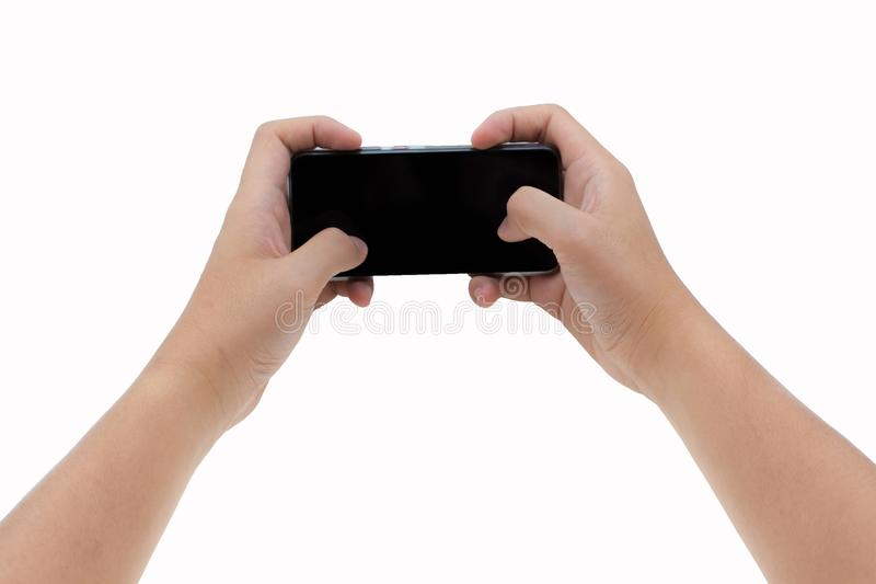 Two hands holding smart phone. Playing games stock images