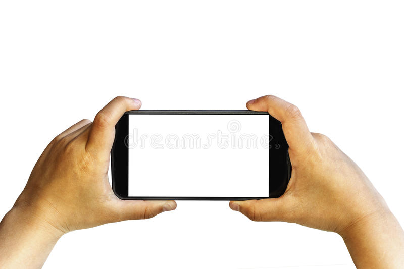 Two isolated hands holding smartphone. Little boy hand holding a smart phone camera and capturing photograph isolated on white with PNG file format available stock images