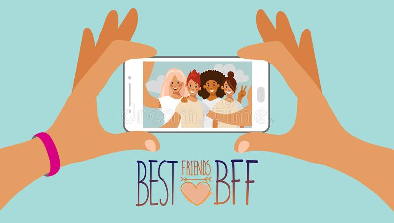 Two hands are holding a smartphone with a selfie photo of a group of teen girls on the screen. BFF. vector illustration