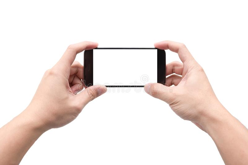 Two hands holding smartphone to take landscape photo, isolated white background stock photos