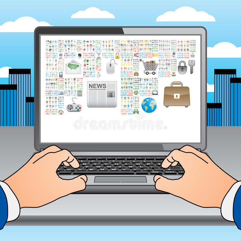 Two Hands On The Laptop With Many Icons Stock Images