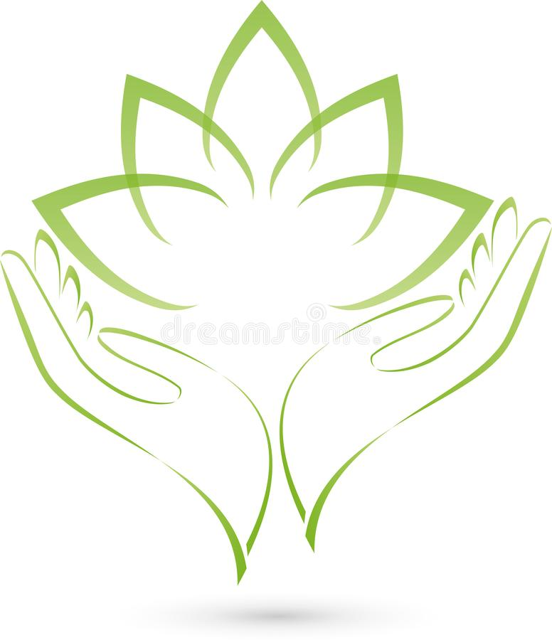 Two hands and leaves, plant, massage and wellness logo stock illustration