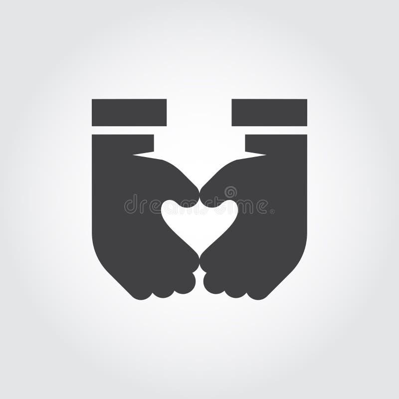 Two hands make heart shape. Black flat icon symbol love, romance, relationships, friendship, life. Finger gesture label royalty free illustration
