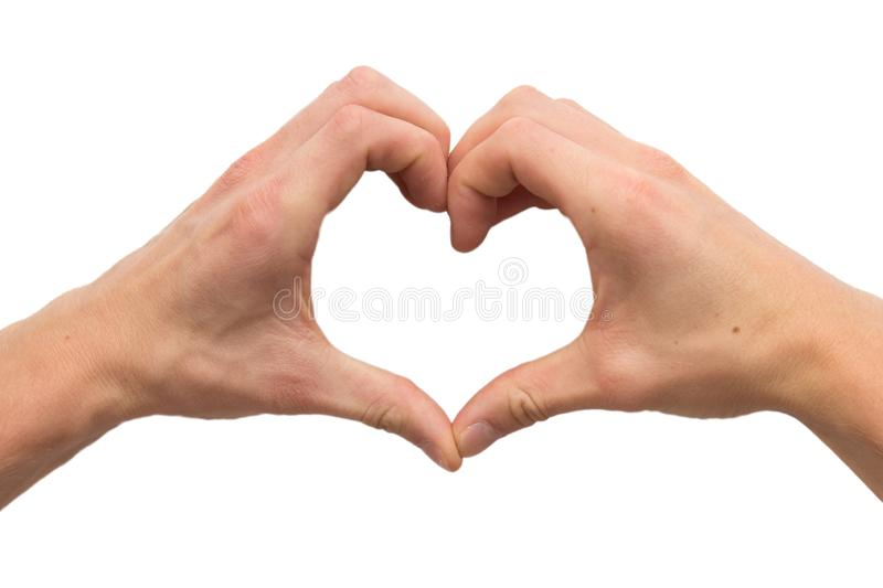 Two hands making heart from fingers stock images