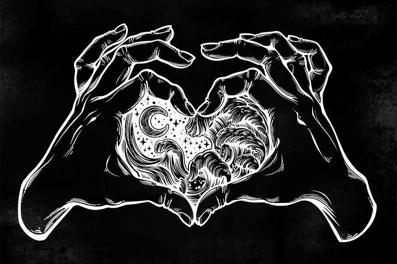 Two hands making heart sign with drawn water waves in the night stormy sea. Silhouette of the ocean. Two hands making heart sign with drawn water waves in the royalty free illustration