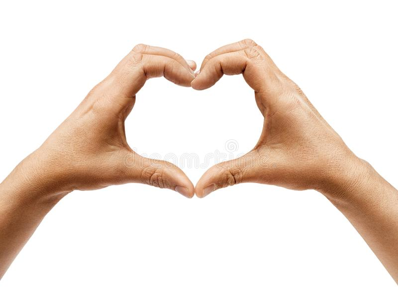 Two hands making heart sign isolated on white background. Close up, high resolution product stock photo
