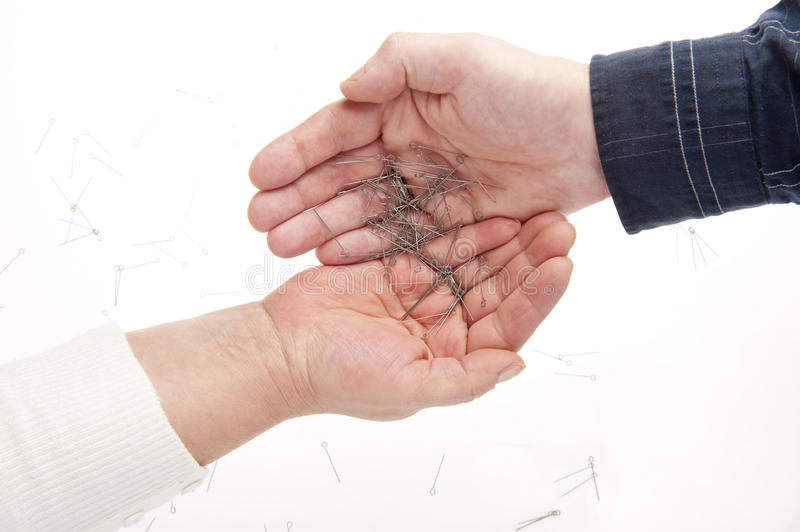 Download Two hands and needles stock image. Image of fingers, communication - 11676711