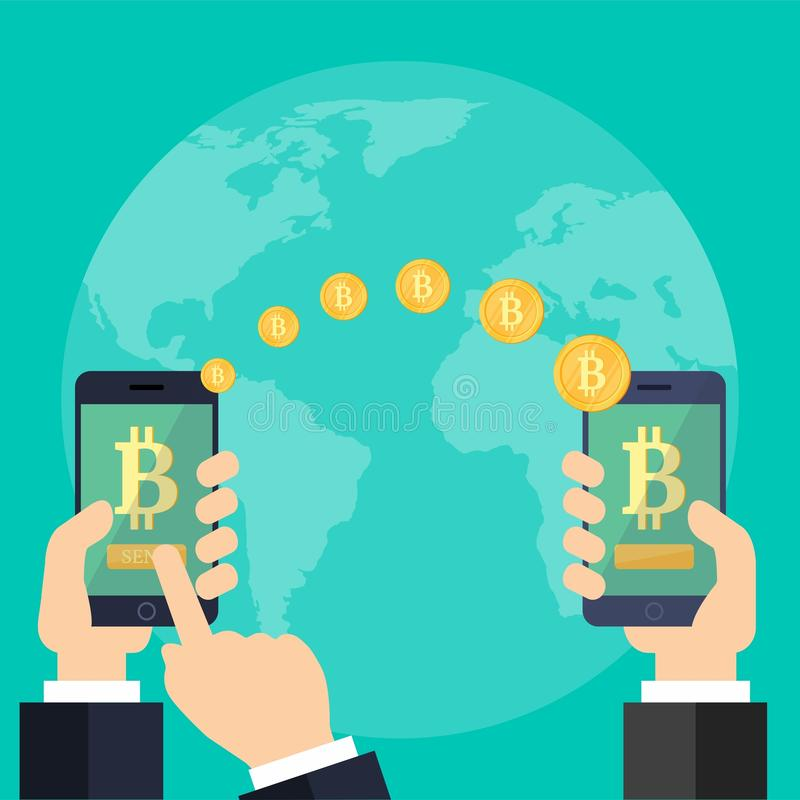 Two hands with phones and with golden bitcoins on a blue background. Vector stacked golden coins. Raising bitcoin courses on a blue background. Two hands with stock illustration
