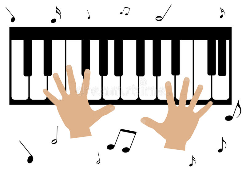two hands a piano and music notes stock vector illustration of rh dreamstime com Music Notes Border Music Notes Symbols