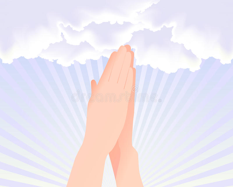 Two hands praying at the sky. Illustration of two hands praying at the sky to god, related to hope, faith and religions royalty free illustration