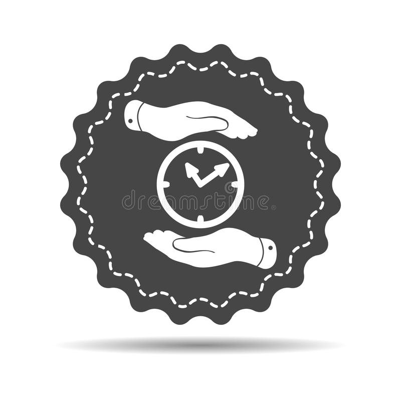 two hands protecting black clock icon on a white background - vector illustration royalty free illustration