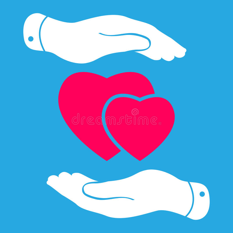 Two hands protecting pink hearts icon royalty free illustration