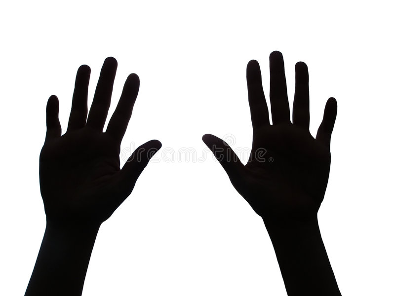 Two hands raised stock photos