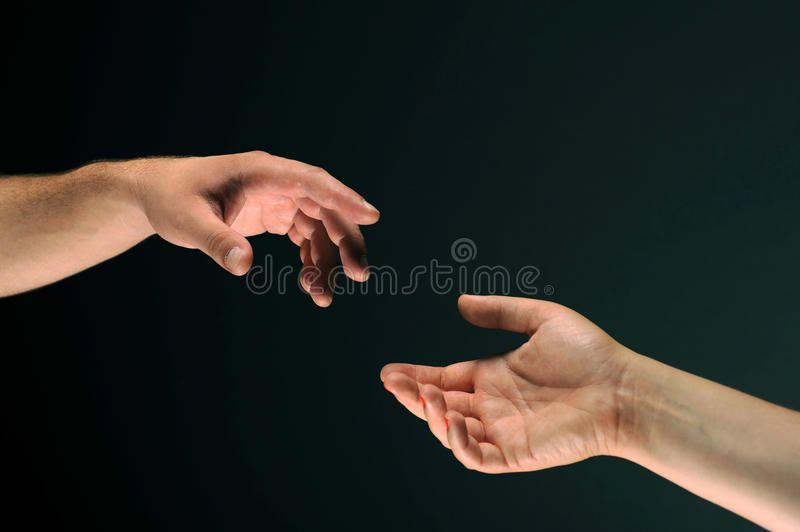 Download Two Hands Reaching To Each Other Royalty Free Stock Photography - Image: 10610337