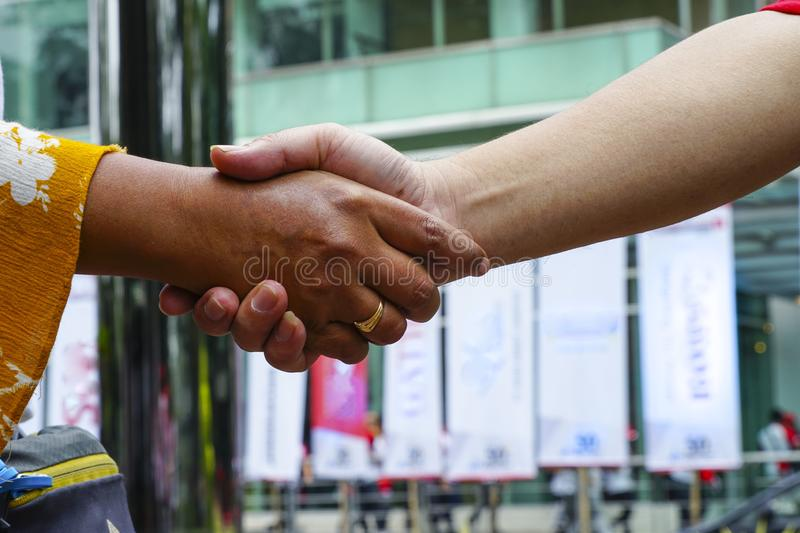 Two hands shake in doing business. Two female and male hands shake after both parties have made a business deal royalty free stock photos