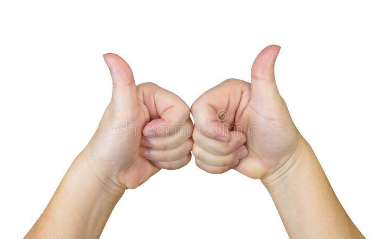 Two hands with thumb up,isolated on white background,clipping path royalty free stock photography