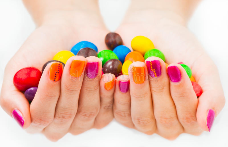 Download Two Hands Together Holding Candies Stock Photo - Image: 43464186