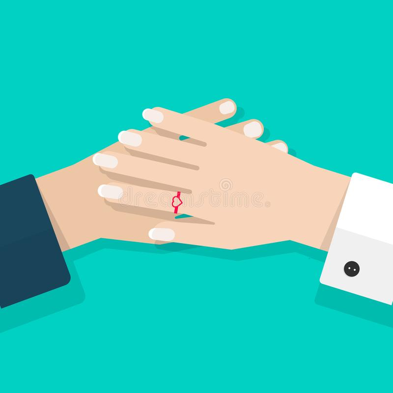 Two hands together vector illustration, flat cartoon closeup couple woman and man hands holding, concept of lovers care stock illustration