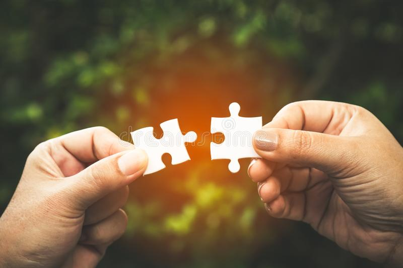 Two hands trying to connect couple puzzle piece with forest background; one part of whole royalty free stock images