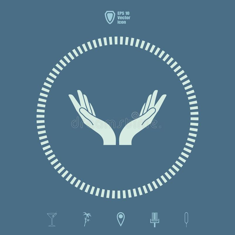 Two hands vector icon royalty free illustration