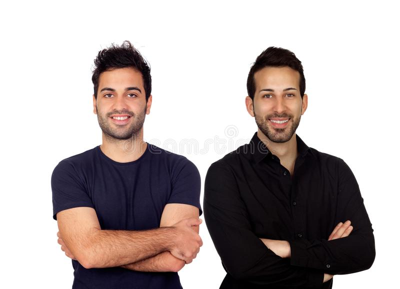 Two handsome black men royalty free stock photography