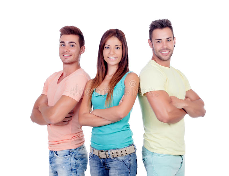 Two handsome boys with a beautiful girl royalty free stock image