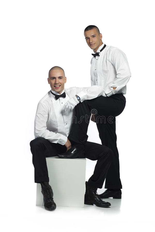 Two handsome men stock photo