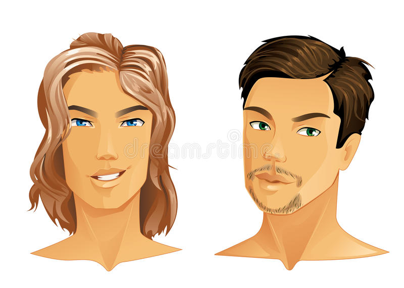 Two handsome men. With different hairstyle royalty free illustration