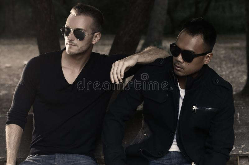 Two handsome men wearing sunglasses royalty free stock photo