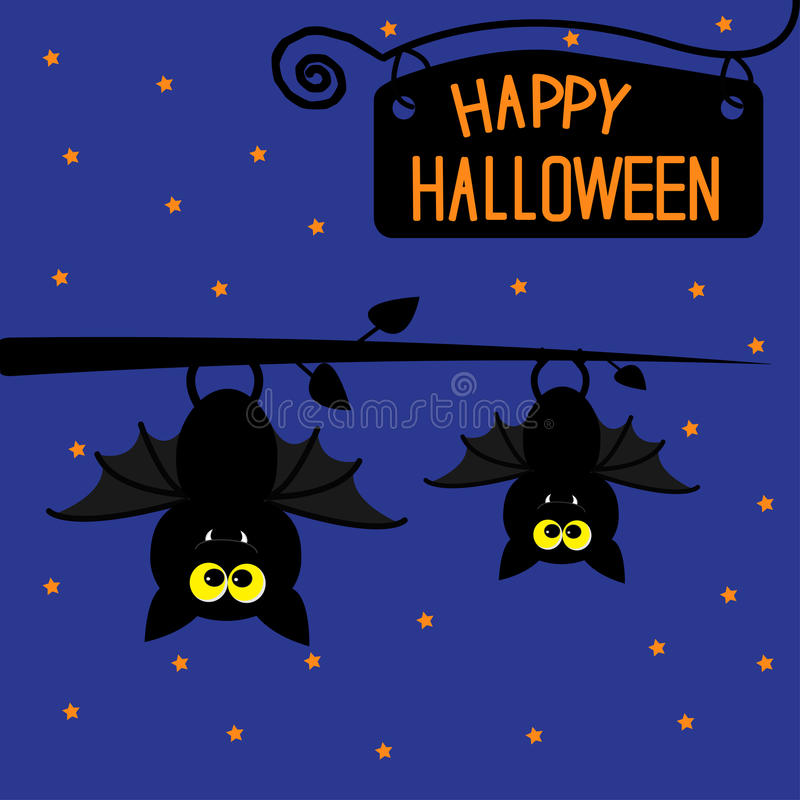 Download Two Hanging Bats At Night. Happy Halloween Card. Stock Illustration - Image: 39816739