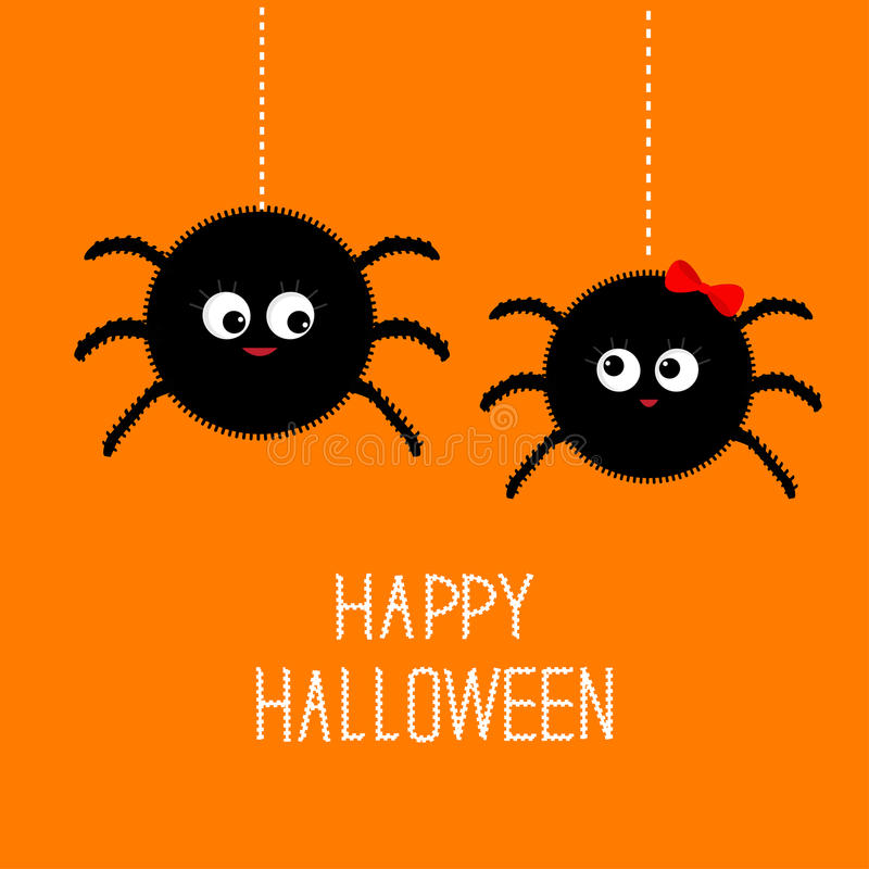 Free Two Hanging Spider Insect Family Couple. Boy Girl. Happy Halloween Card. Flat Design Royalty Free Stock Images - 60799179
