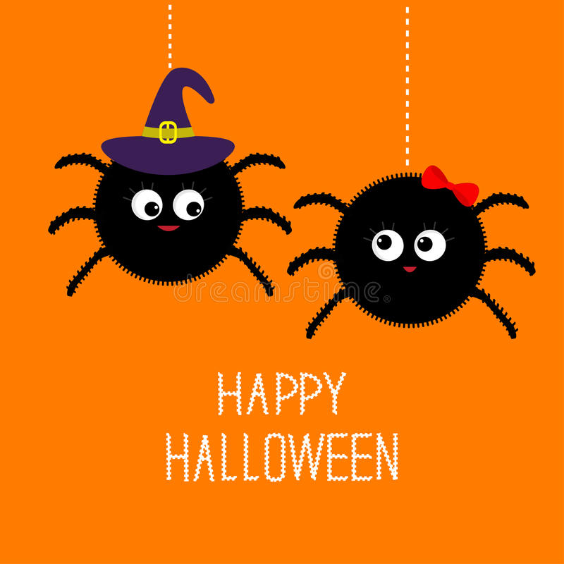 Free Two Hanging Spider Insect Family Couple. Boy Girl. Witch Hat. Happy Halloween Card. Flat Design Royalty Free Stock Photos - 60889038
