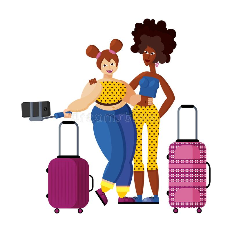Two girlfriends slender African-American and buxom European make selfie in airport. Two happy beautiful girlfriends slender African-American and buxom European vector illustration