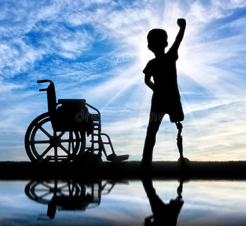 Two happy boy with a disability stock photo