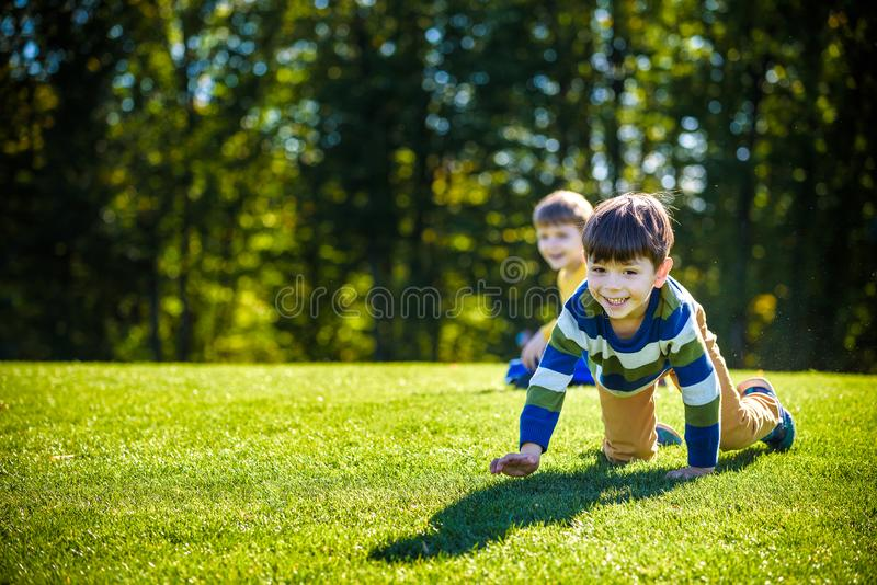 Two happy boys playing on fresh green grass meadow. Tumble and smiling together brothers kids are best friends stock photos