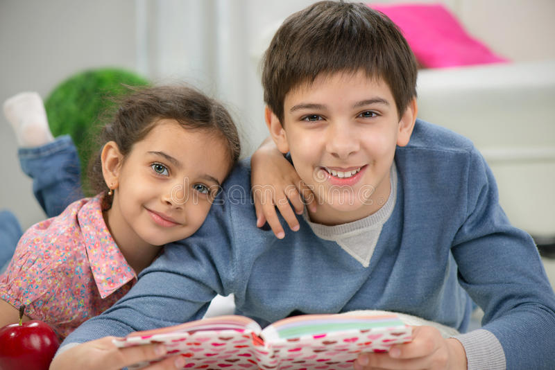 Two happy brother and siister royalty free stock photo