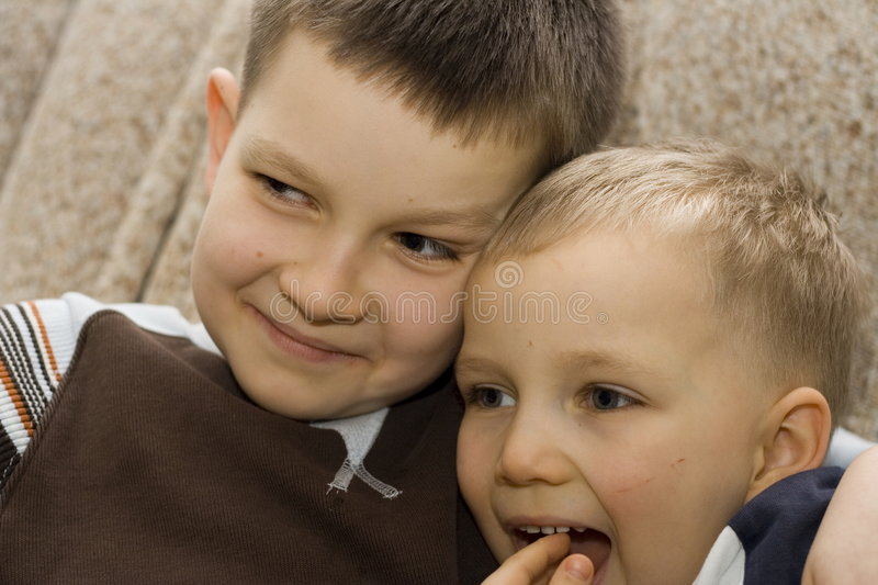 Two happy brothers stock photo