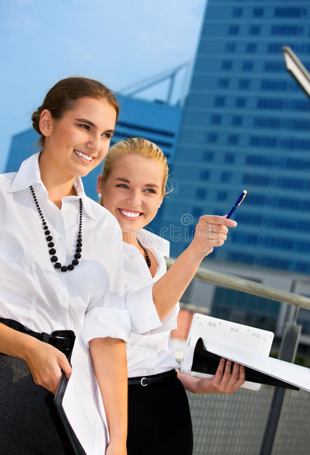 Two Happy Businesswomen Stock Photo