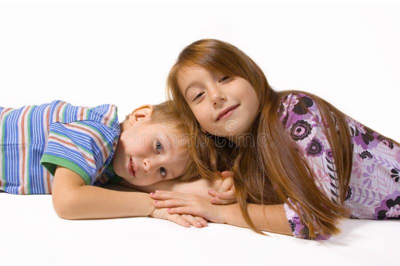 Two happy children royalty free stock photos