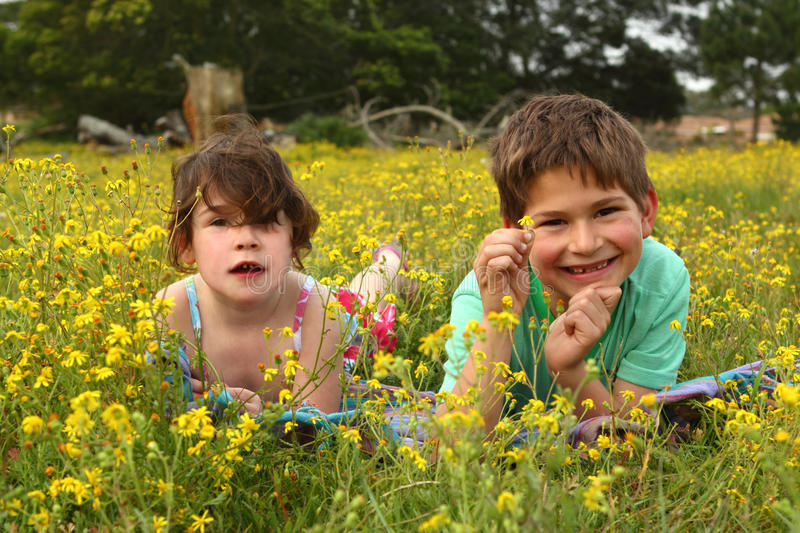 Two happy children in a meadow stock photography
