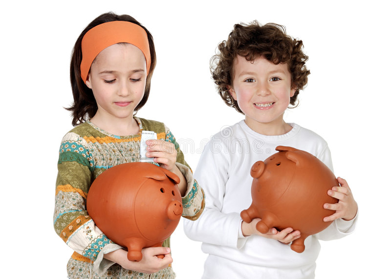 Two happy children with moneybox savings stock image