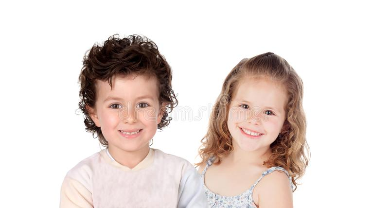 Two happy children royalty free stock photo