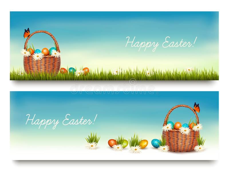 Two Happy Easter banners with easter eggs in a basket royalty free illustration